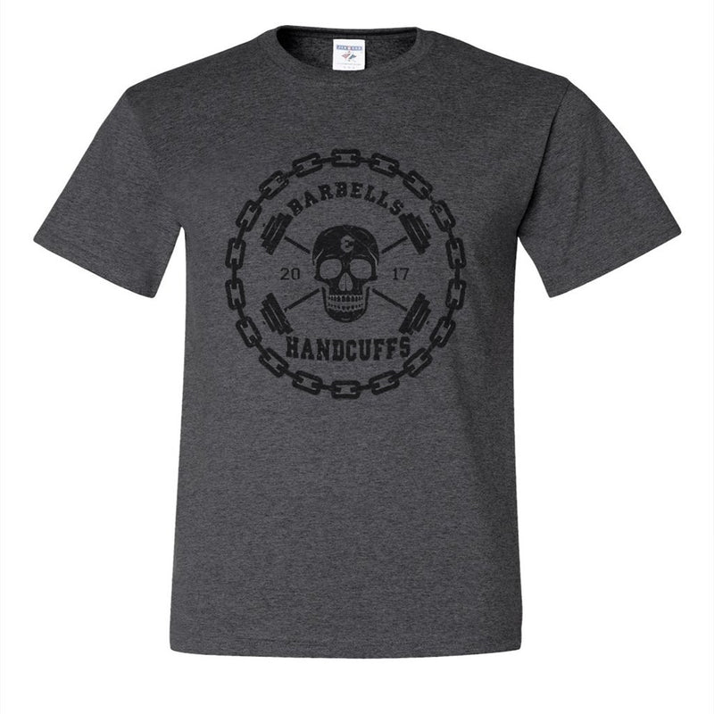 LOGO DESIGN - BARBELLS AND HANDCUFFS DISTRESSED LOGO SHIRT