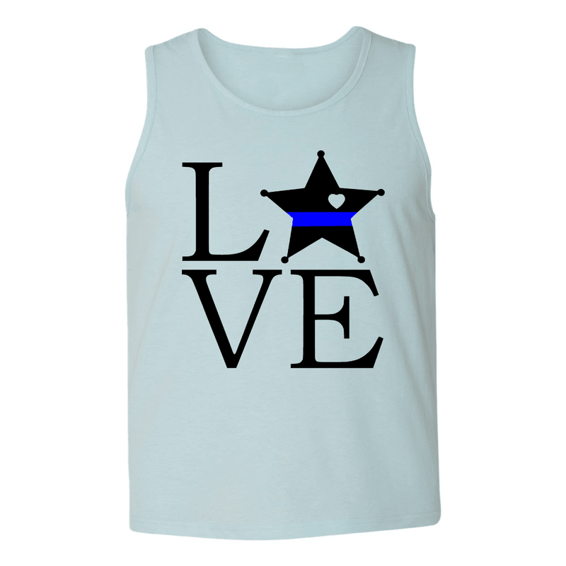 Mens Tank Tops - DEPUTY/POLICE LOVE BLOCK MENS TANK TOP