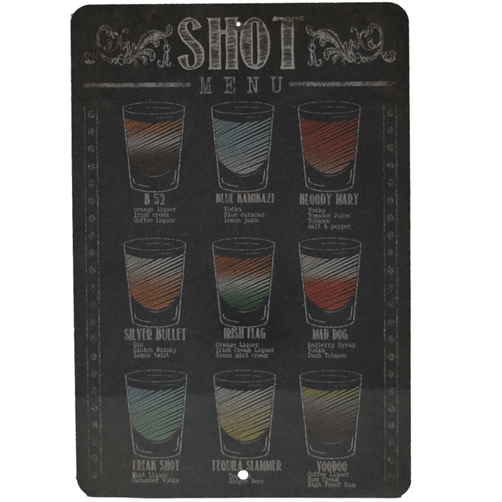 METAL SIGN - SHOT MENU BAR/ALCOHOL METAL SIGN