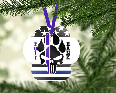 Ornaments - K9 PUNISHER CUSTOMIZABLE PAW PRINT HOLIDAY ORNAMENT