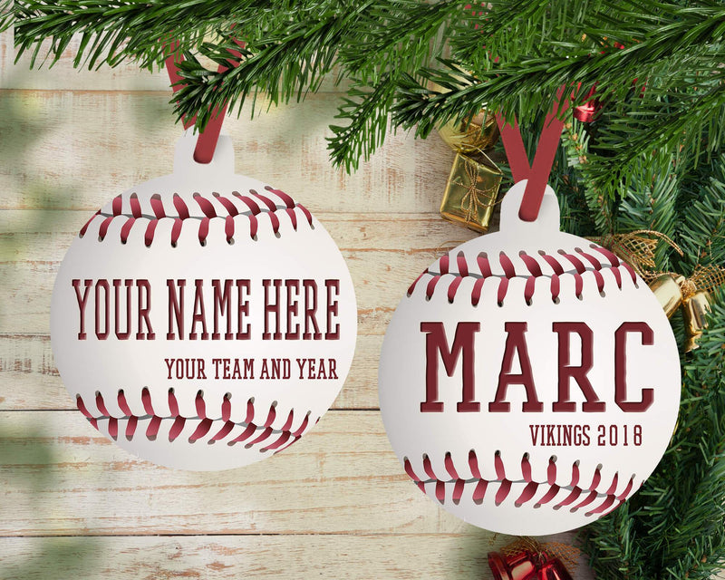 "PERSONALIZED ""REALISTIC"" BASEBALL HOLIDAY ORNAMENT"