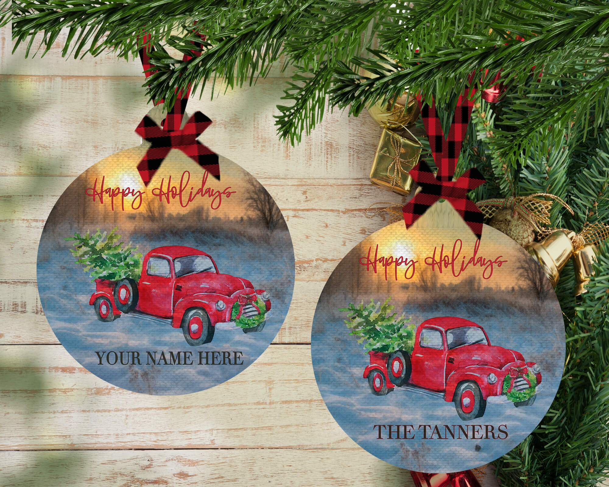 PERSONALIZED RED TRUCK WITH TREE HOLIDAY ORNAMENT