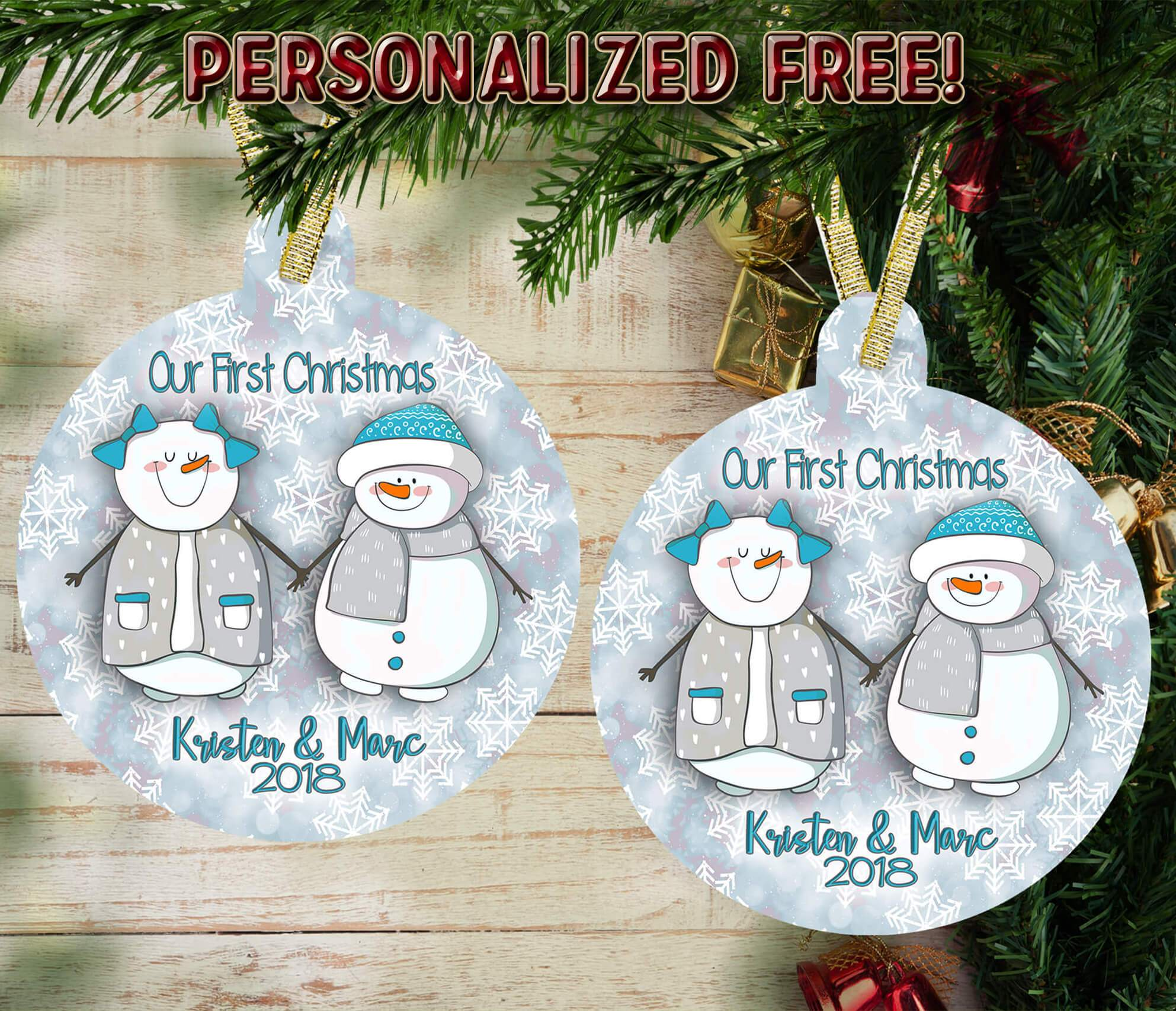 "PERSONALIZED SNOWMAN ""COUPLE"" HOLIDAY ORNAMENT"