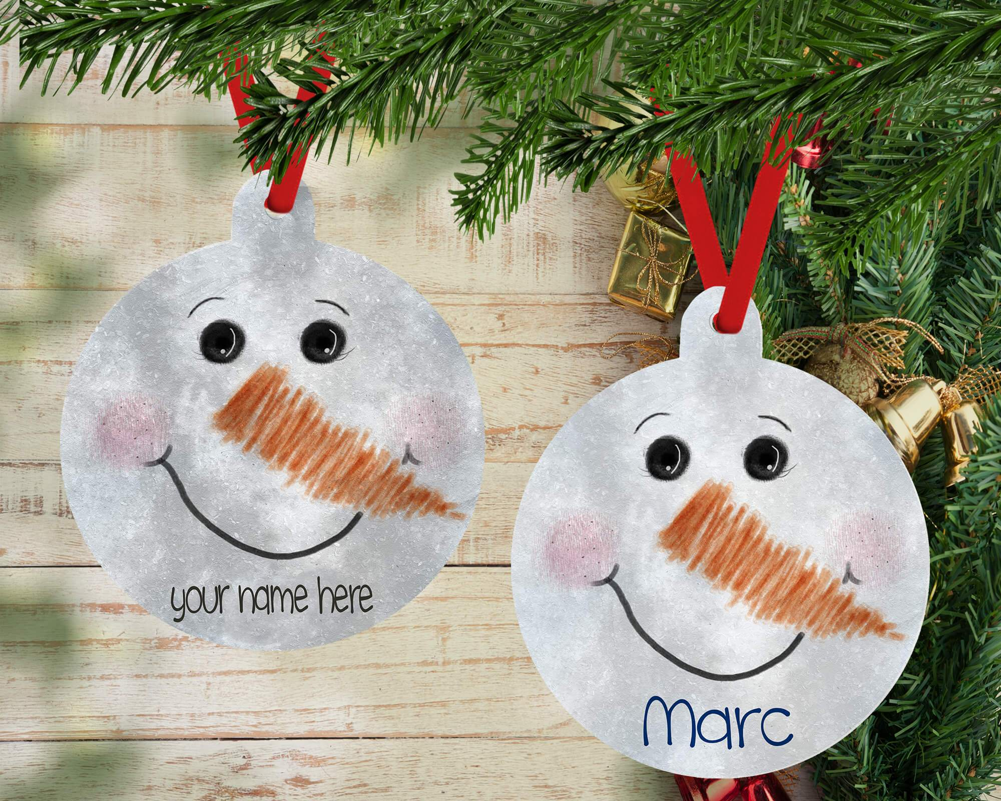 PERSONALIZED SNOWMAN FACE HOLIDAY ORNAMENT