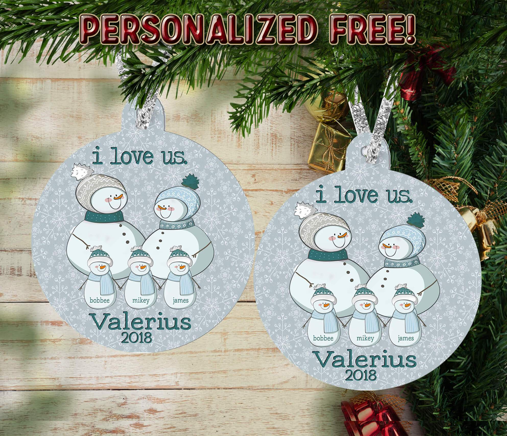 PERSONALIZED SNOWMAN FAMILY HOLIDAY ORNAMENT