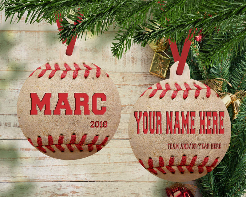 "PERSONALIZED ""VINTAGE"" BASEBALL HOLIDAY ORNAMENT"