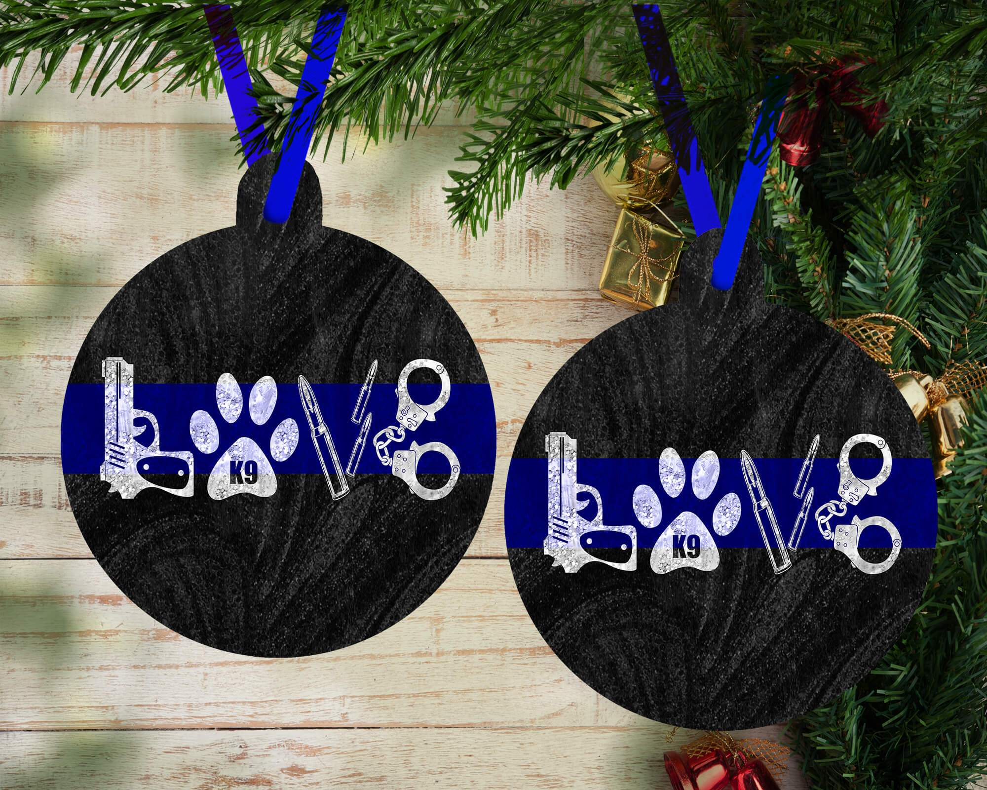 Police Christmas Ornaments.Police Love Holiday Ornament