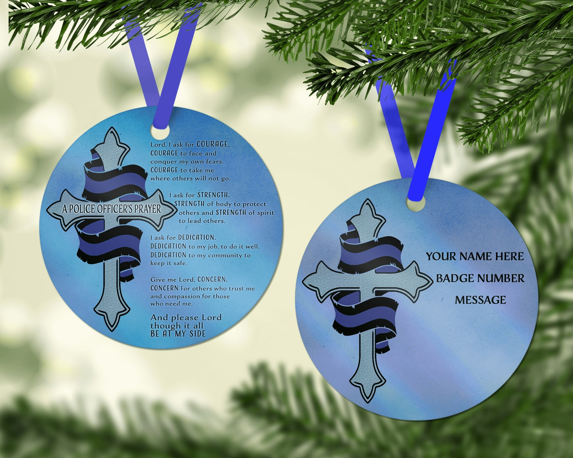ornaments police prayer metal holiday ornament