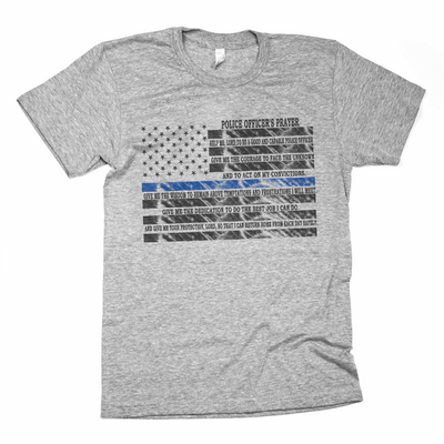 POLICE Design - POLICE PRAYER BLUE LINE SUPPORT SHIRT