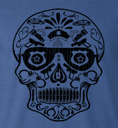 POLICE Design - POLICE SKULL DAY OF THE DEAD STYLE ATHLETIC SHIRT