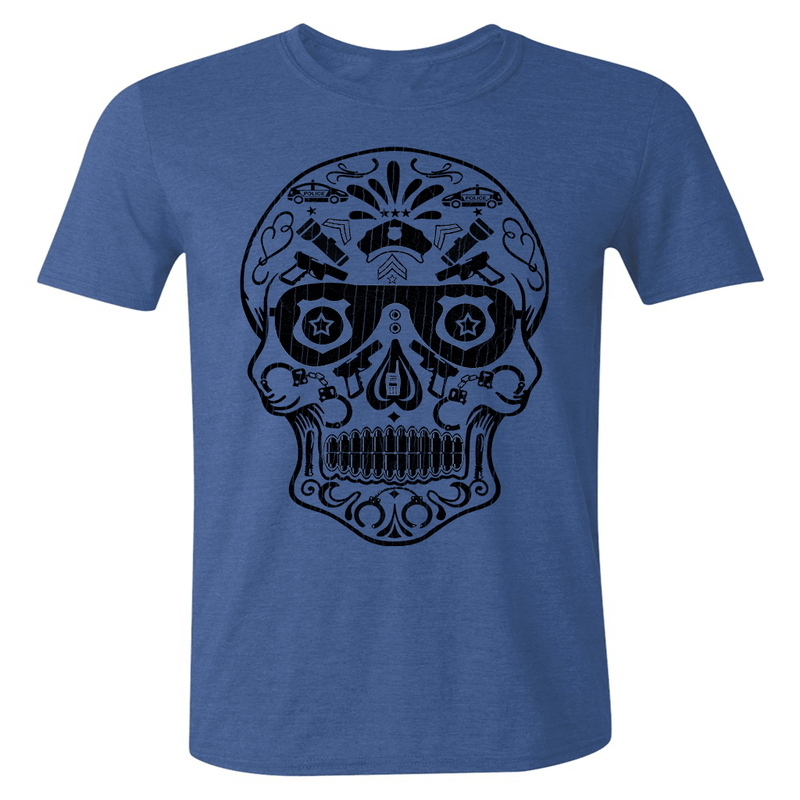 POLICE SKULL DAY OF THE DEAD STYLE ATHLETIC SHIRT