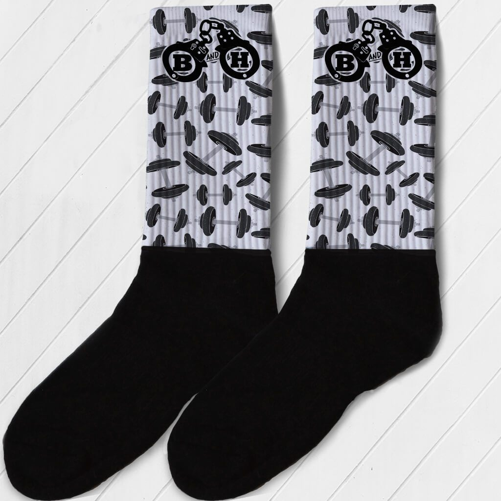 BARBELLS AND HANDCUFFS BARBELL LOGO ATHLETIC OR COMPRESSION SOCKS