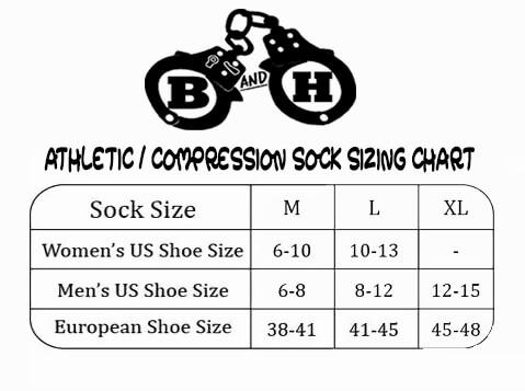 BARBELLS AND HANDCUFFS ZEBRA LOGO ATHLETIC OR COMPRESSION SOCKS