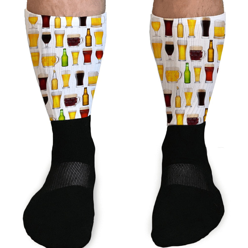 BEERS OF THE WORLD GRAPHIC ATHLETIC OR COMPRESSION BEER SOCKS