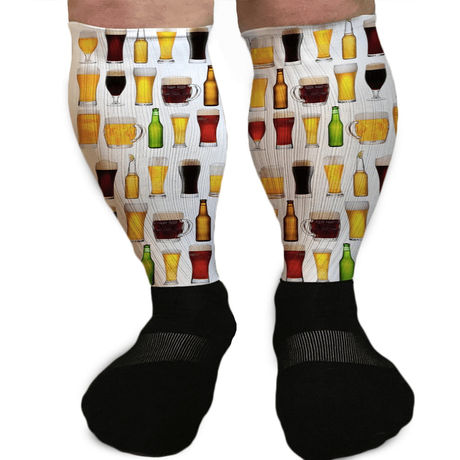 BEERS OF THE WORLD GRAPHIC ATHLETIC OR COMPRESSION SOCKS