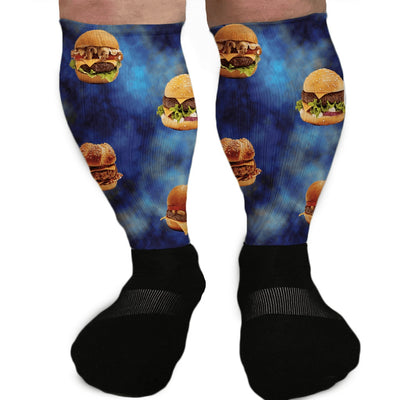 SOCKS - BURGER BONANZA CHEESEBURGER GRAPHIC ATHLETIC OR COMPRESSION SOCKS