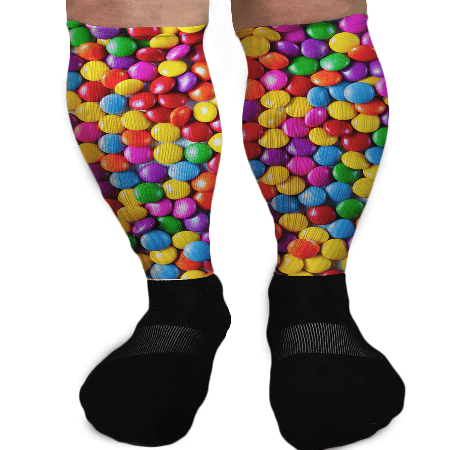 COLORED CHOCOLATE CANDIES FUNNY ATHLETIC OR COMPRESSION SOCKS