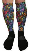 SOCKS - COLORFUL SKULL PATTERNED ATHLETIC OR COMPRESSION SOCKS
