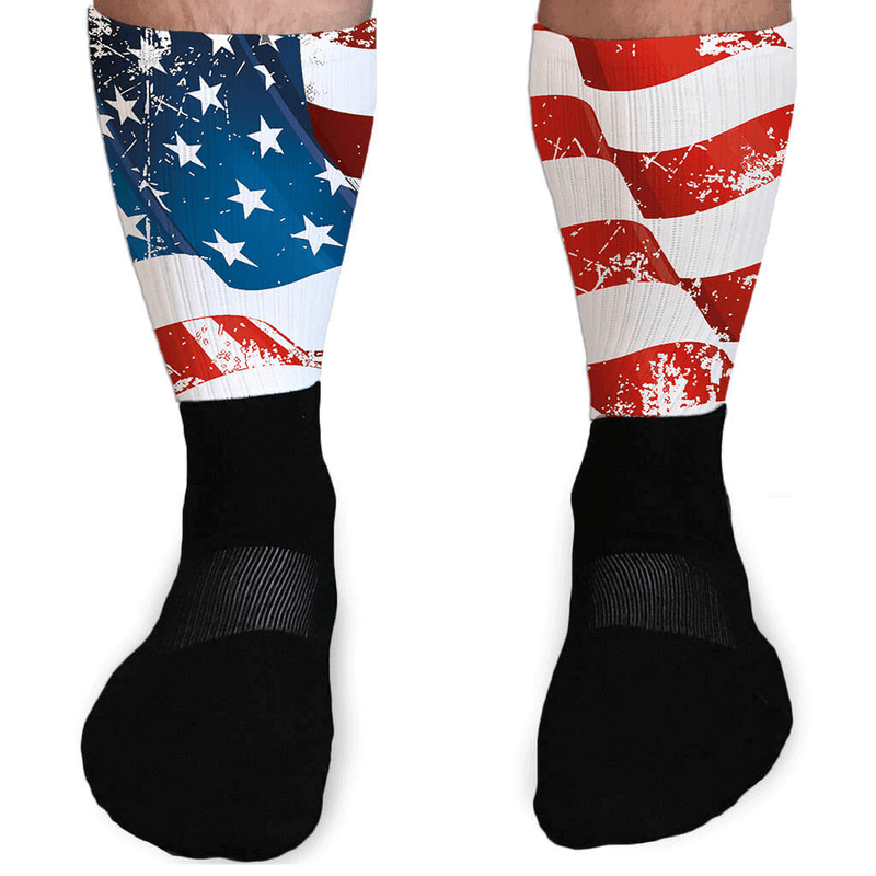 SOCKS - DISTRESSED FLAG PATRIOTIC ATHLETIC OR COMPRESSION SOCKS