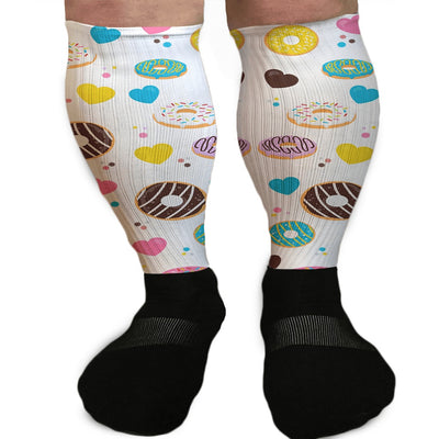 SOCKS - DOUGHNUTS EVERYWHERE WATERCOLOR STYLE ATHLETIC OR COMPRESSION SOCKS