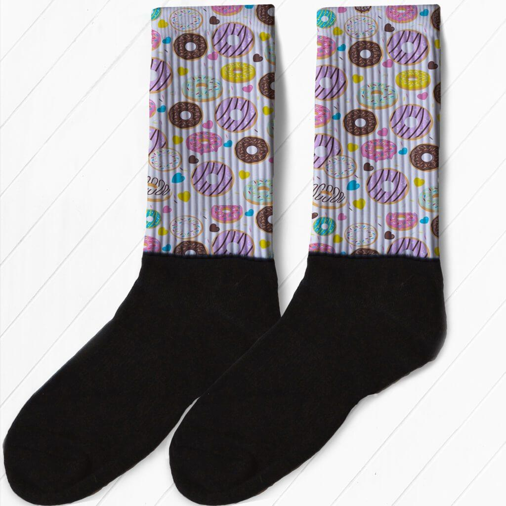 SOCKS - DOUGHNUTS EVERYWHERE WATERCOLOR STYLE DONUT ATHLETIC OR COMPRESSION SOCKS