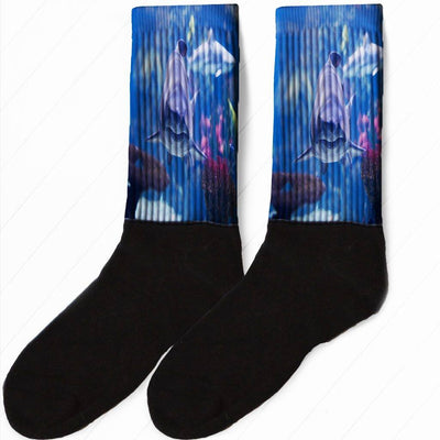 SOCKS - FINS UP FUN SHARK ATTACK ATHLETIC OR COMPRESSION SOCKS