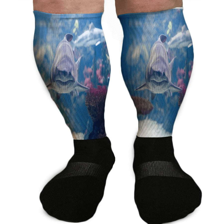 FINS UP FUN SHARK ATTACK ATHLETIC OR COMPRESSION SOCKS