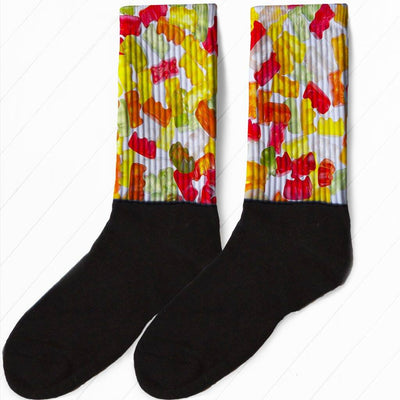 SOCKS - FULL COLOR GUMMY BEAR CANDY GRAPHIC ATHLETIC OR COMPRESSION SOCKS