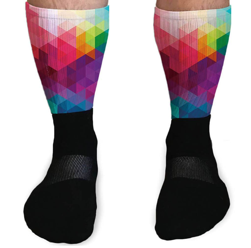 SOCKS - FULL COLOR RAINBOW PRISM ATHLETIC SOCKS