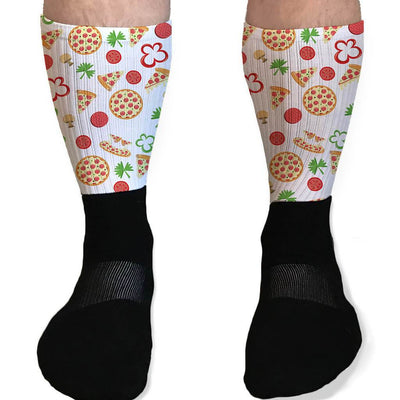 SOCKS - GRAB A SLICE PIZZA TOPPINGS GRAPHIC ATHLETIC OR COMPRESSION SOCKS