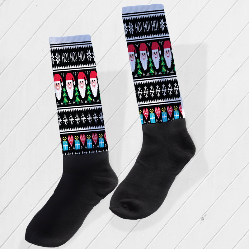HO! HO! HO! UGLY CHRISTMAS SWEATER ATHLETIC/COMPRESSION SOCKS