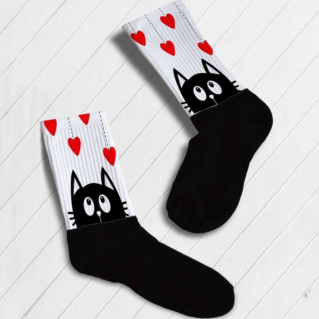 0abb5eb94d005 KITTY IN LOVE ATHLETIC OR KNEE HIGH SOCKS - Barbells and Handcuffs