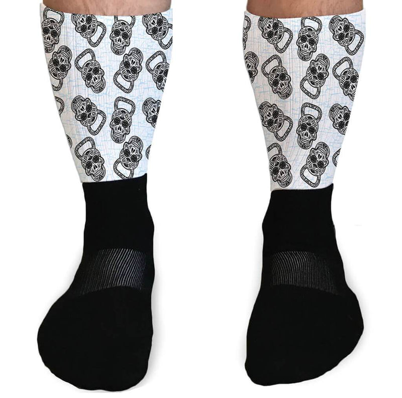 SOCKS - SKULL KETTLEBELL CROSSFIT INSPIRED ATHLETIC OR COMPRESSION SOCKS