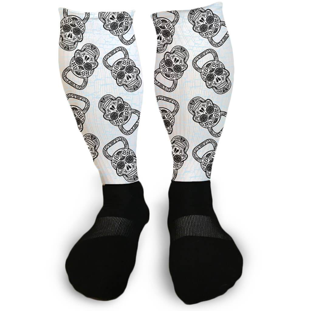 7252fa95d8 SUGAR SKULL KETTLEBELL CROSSFIT INSPIRED ATHLETIC OR COMPRESSION SOCKS -  Barbells and Handcuffs
