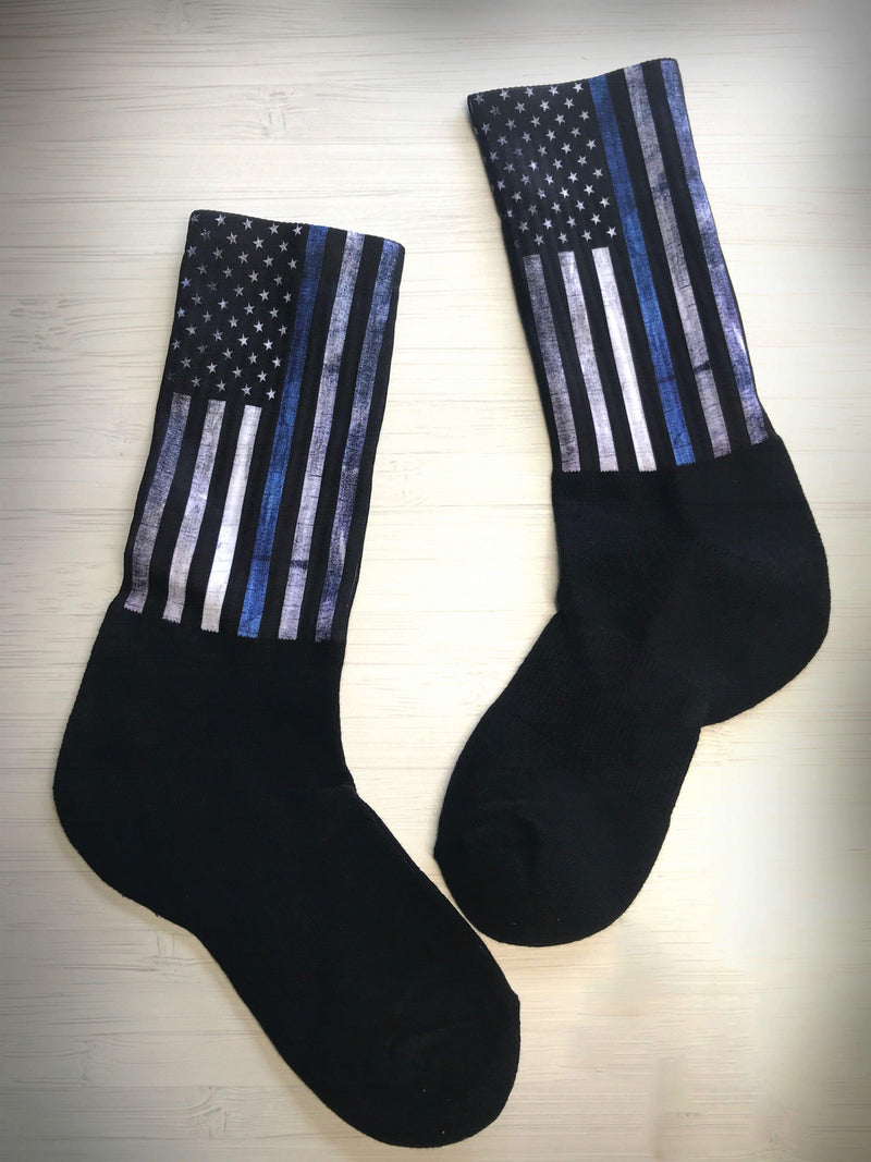 SOCKS - THIN BLUE LINE FLAG CREW OR KNEE SOCKS