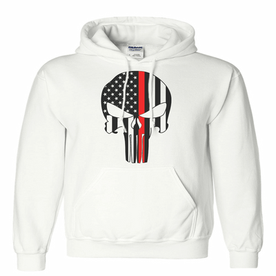 Sweatshirt - FIREFIGHTER SKULL RED LINE HOODED SWEATSHIRT