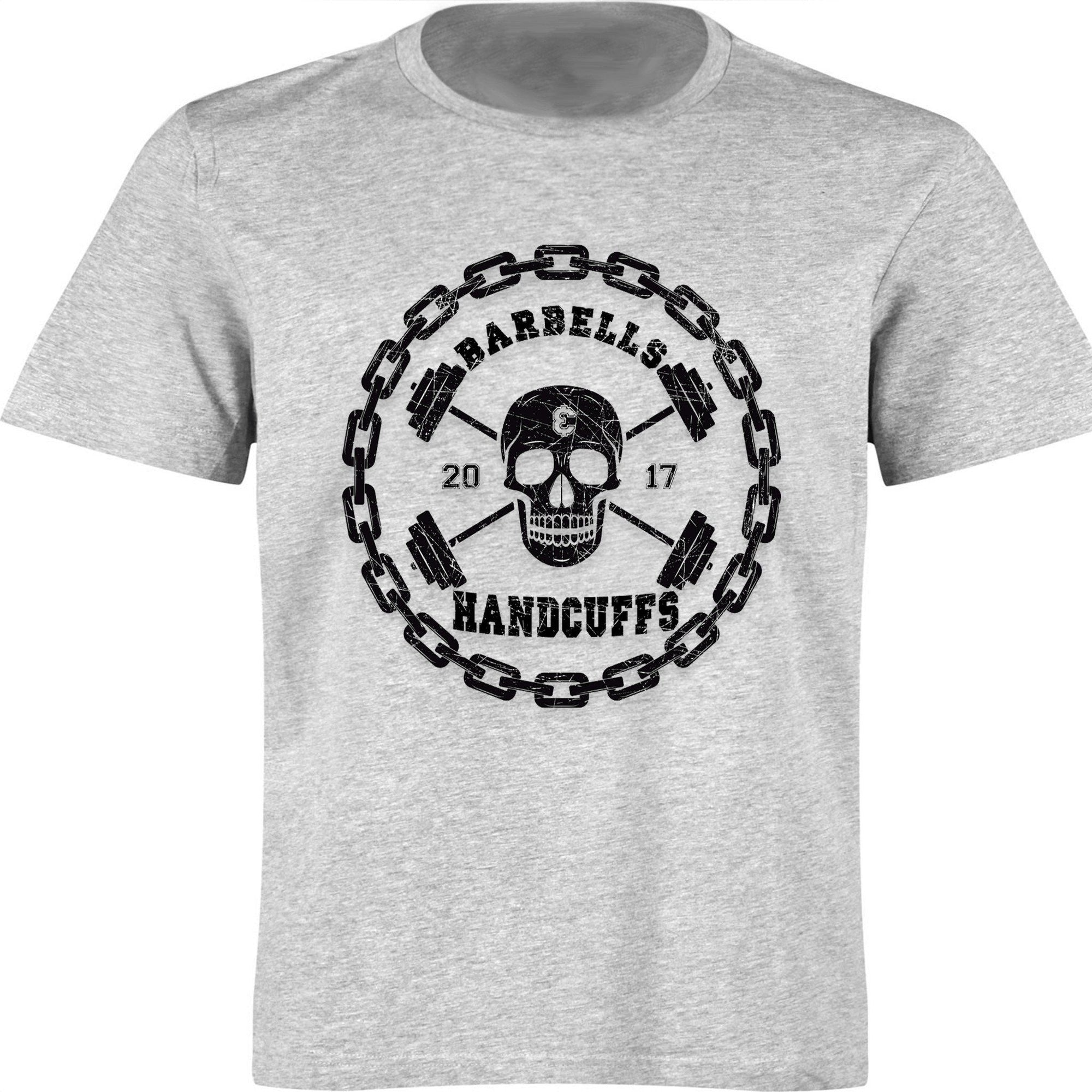 BARBELLS & HANDCUFFS SKULL LOGO T-SHIRT