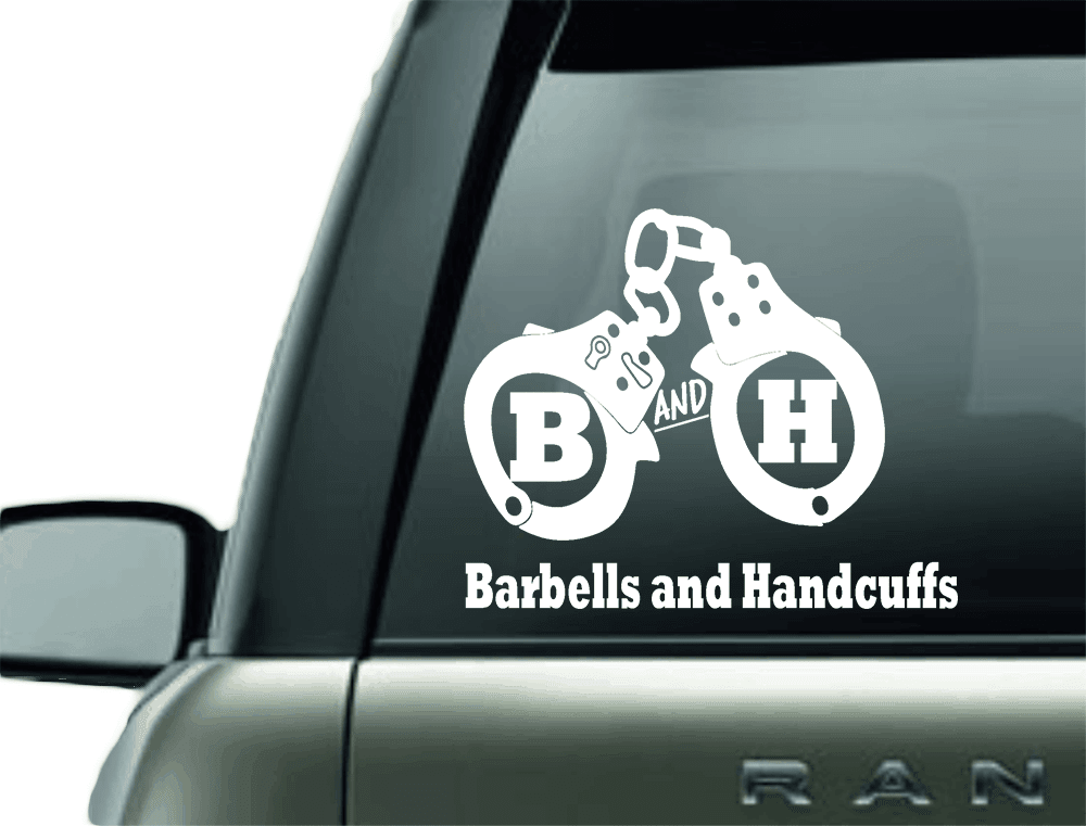 BARBELLS AND HANDCUFFS HANDCUFF LOGO CAR DECAL STICKER