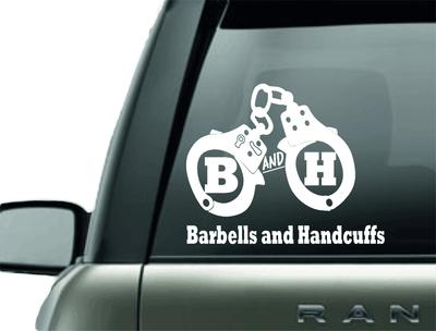 Vinyl Decal - BARBELLS AND HANDCUFFS HANDCUFF LOGO CAR DECAL