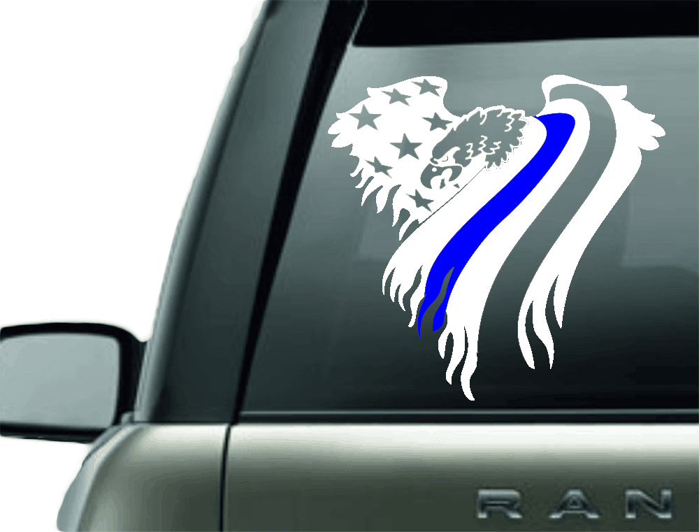 BLUE LINE EAGLE POLICE SUPPORT VINYL DECAL STICKER