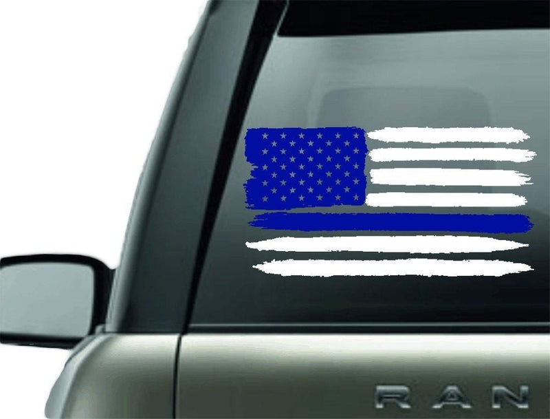 BLUE LINE FLAG POLICE SUPPORT VINYL CAR DECAL STICKER