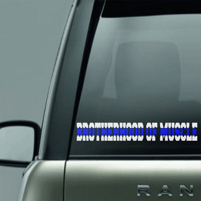 Vinyl Decal - BROTHERHOOD OF MUSCLE BLUE LINE LAW ENFORCEMENT SUPPORT VINYL DECAL STICKER