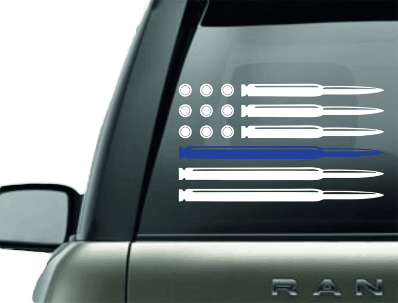 BULLET POLICE BLUE LINE SUPPORT VINYL DECAL STICKER