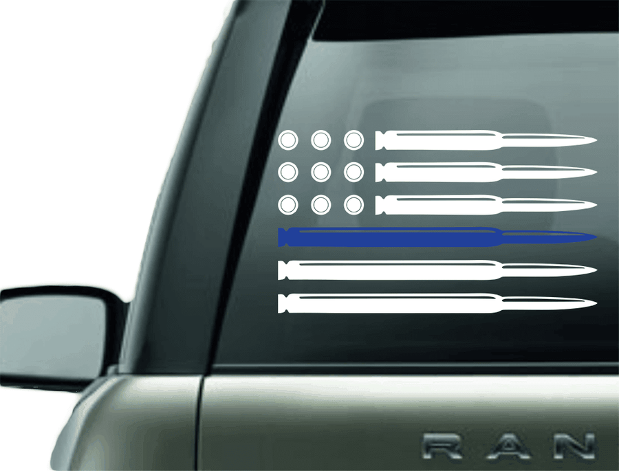 Vinyl Decal - BULLET POLICE BLUE LINE SUPPORT VINYL DECAL