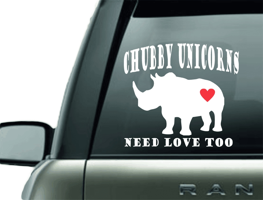 CHUBBY UNICORNS VINYL CAR DECAL STICKER