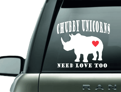 Vinyl Decal - CHUBBY UNICORNS VINYL CAR DECAL