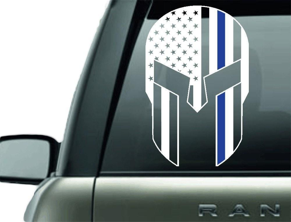 GLADIATOR POLICE BLUE LINE SUPPORT VINYL DECAL STICKER