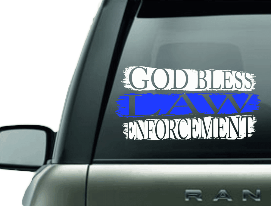 GOD BLESS LAW ENFORCEMENT BLUE LINE CAR DECAL