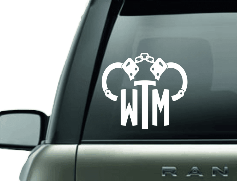 HANDCUFF MONOGRAM HANDCUFF VINYL DECAL