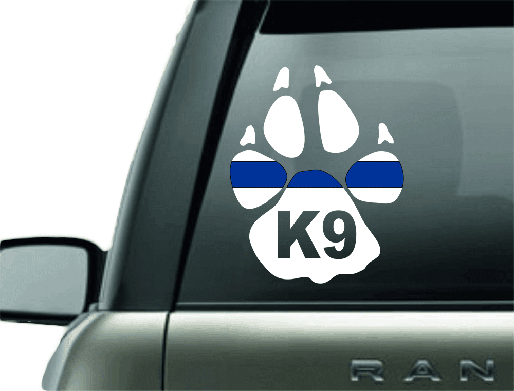 Vinyl Decal - K9 BLUE LINE POLICE SUPPORT VINYL DECAL